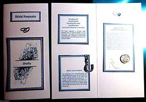 Something Blue Bridal Keepsake Card with DL Blue Horseshoe Charm & Sixpence Coin