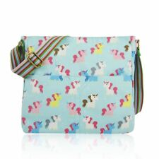 Canvas Cross Body Bag in Unicorn Pattern. Large Everyday School Cotton Handbag