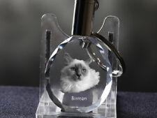 Sacré de Birmanie, porte-clés rond, en cristal, qualité, Crystal Animals FR