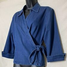 Talbots Women's Denim Blue Crossover Blouse Sz Small Side Tie 3/4 Sleeve Collar