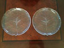 "Pair ARCOROC ASPEN LEAF France 11"" Clear Embossed Glass Dinner Cake Plates •EUC"