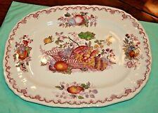 "W@W  Mason's Fruit Basket Multicolor Red large Serving Platter 15""x12"""