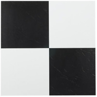 12x12 Vinyl Floor Tiles Solid Black and White Checkered Self Adhesive 20 Pack