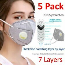 5 Pack KN95 Face Mask Covering With Air Breathing Valve & Activated Carbon Layer