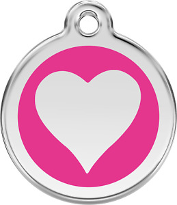 """Red Dingo """"Heart"""" Engraved Pet Dog & Cat ID Tag - Free Engraving - 11 Colours"""