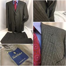 Brooks Brothers Suit 48L Gray Stripe 3bt 40x27 Pleat Made In Italy 48 L YGI 4204