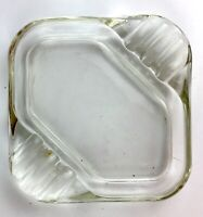 "Vintage 4.75"" Square clear glass ashtray Retro MCM"