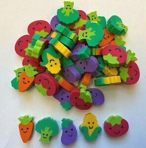 50 Mini Vegetable Shaped Erasers Teacher Supply Sorting Math Counters corn broc