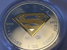 plata fina de 999 1 onza Moneda Canadá Superman - Gilded con 999 Oro refinado
