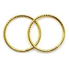 9ct gold hoop earrings 14 mm diamond cut sleepers light weight (1 pair)