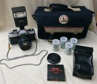 Minolta XG7 35mm Film Camera Flash  Flim & Bag Vintage Parts or Repair Untested