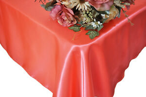"""25 Satin Overlays 60"""" X 60"""" Square Tablecloths Wholesale Seamless 30 Colors"""