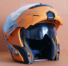 NUOVO Casco de Jet MOTO Scooter Integral Modular Naranja Mate Visera S M L XL