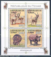 CHAD 2013 ADDAX & RHINOCEROS SHEET OF FOUR  MINT NH