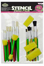 25 PIECE STENCIL PAINT BRUSH & SPONGE STIPPLE SET MIXED CRAFT BRUSHES RART-20
