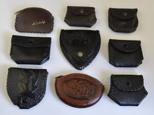 Great LOT OF 9  Quality VINTAGE LEATHER  ROSARY POUCHES / POUCH NR