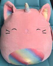 "Squishmallows Kellytoy Sabrina Pink Caticorn Cat Unicorn Rainbow 13"" Plush Doll"