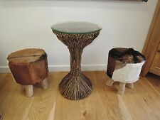 GENUINE COW HIDE STOOLS HEIGHT 56CM SEAT 37CM WITH WOODEN LEGS CODE AT099
