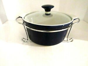 Mid Century Modern Cobalt Blue Serving Bowl with Lid and Metal Chrome Stand