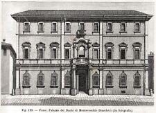 Fano: Palazzo dei duchi di Montevecchio.Marche.Stampa Antica + Passepartout.1898