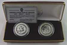 2000 Andorra, 5 Diners Year of Dragon, Proof Silver 2 coin SET, RARE