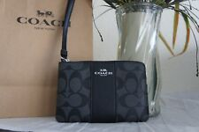 NWT Coach Zip Wristlet F58035 In Signature Coated Canvas W/ Leather Strap