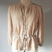 Gerard Darel Women's Top Cream Beige Size 44 16 100% Silk Buttons Ruffle VGC