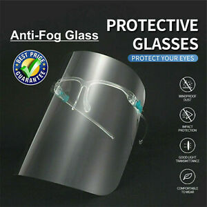 3/5 SET FULL FACE SHIELD VISOR COVERING ANTI-FOG CLEAR GLASSES SAFETY PROTECTION