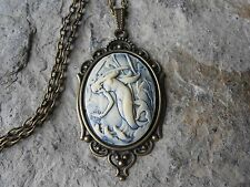 MERMAID CAMEO NECKLACE, SET IN BRONZE, MATCHING CHAIN, VACATION, CRUISE