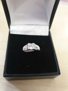 Silver set high quality CZ fancy wishbone wedding/dress ring size N  41