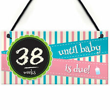 Weeks Baby Due Pregnancy Countdown Chalkboard Hanging Plaque Birth Gift Sign NEW