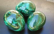 3pcs Green MALACHITE Egg Crystal Polished Gemstone Specimen.