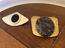 2 Bolo Ties  1 W/Polished Agate gold Tone  Stone Silver-Toned Black