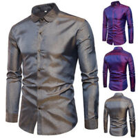Sequins Nightclubs Mens Casual Formal Slim Fit Dress Shirt Blouse Top Fashion