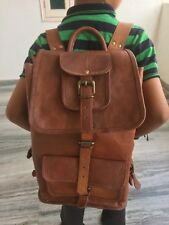 Large Men's and Women's Real Leather Backpack Rucksack Travel Bag Laptop New