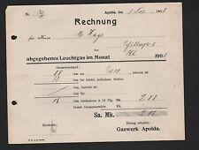 APOLDA, Rechnung 1908, Gaswerk Apolda