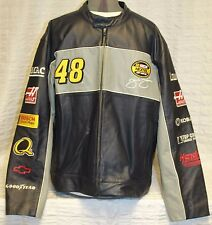 Wilson Leather Nascar Men Jacket Chase Jimmie Johnson #48 Nextel Lowes Navy Grey
