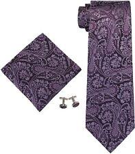 LANDISUN Men's Purple Tie Set Floral Pattern 100% Silk NEW