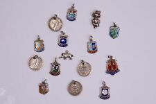 Fine Vintage Antique Silver Enamel Souvenir Charms & 3d Coins 1898
