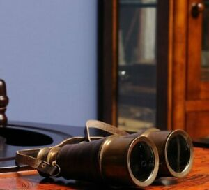 Brass Binoculars with Leather Overlay