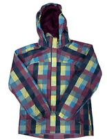 The North Face Girl's Plaid Hyvent Full Zip Rain Hooded Jacket Size Large