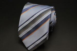 ERMENEGILDO ZEGNA Silk Cotton Tie. Blue w White & Orange Stripes.