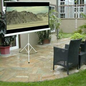"""84"""" Tripod Portable Projector Projection Screen 16:9 Foldable Stand Home Theatre"""