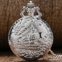 Vintage Steampunk Train Silver Necklace Pocket Watch Quartz Fob Pendant Chain