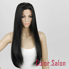 Hand Tied Lace Front Full Wigs Glueless Synthétique Perruque Noir 16#1B