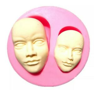 2 X FACE SILICONE MOULD/MOLD-FACES/HEADS FONDANT/CHOCOLATE/FIMO-FACIAL FEATURES