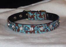 Luxury Rhinestone Pet Dog Collar 2 color Jewel Bling! Damask Chocolate Turquoise