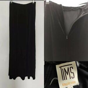 Vintage Tims Women's Long Black Velvet Skirt Straight Party Occasion Blogger 10