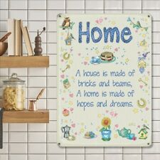 A Home is Made of Hopes and Dreams, Shabby Chic Small Metal Steel Wall Sign