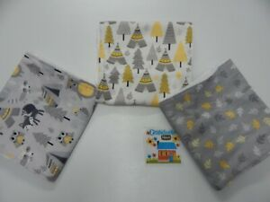 Burp Cloths Woodland Bear Camp Set of 3 Toweling Backed GREAT GIFT IDEA!!
